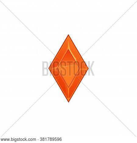 Rhombus Orange Diamond Or Topaz Crystal Icon, Cartoon Vector Illustration Isolated.