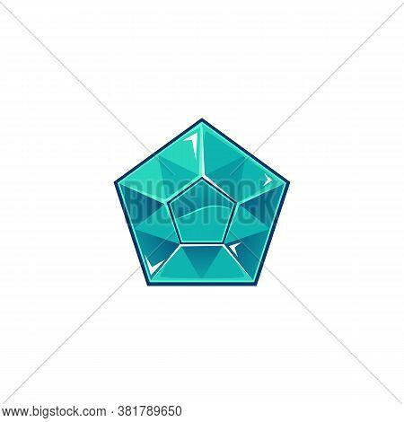 Pentagonal Diamond Or Blue Topaz Gemstonecartoon Vector Illustration Isolated.