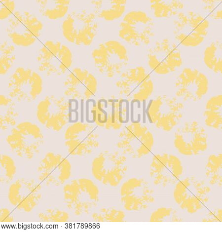 Yellow Spotted Texture Seamless Vector Abstract Pattern. Surface Print Design For Backgrounds, Fabri