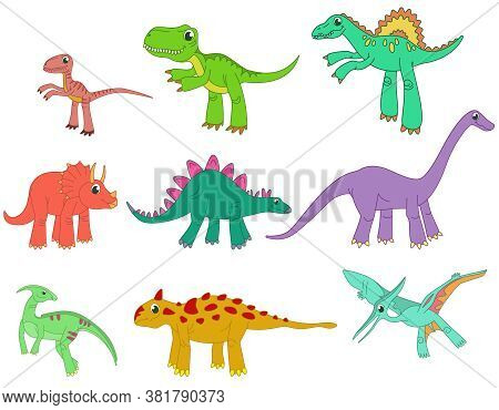 Big Set Of Different Dinosaurs. Prehistoric Reptiles In Cartoon Style.