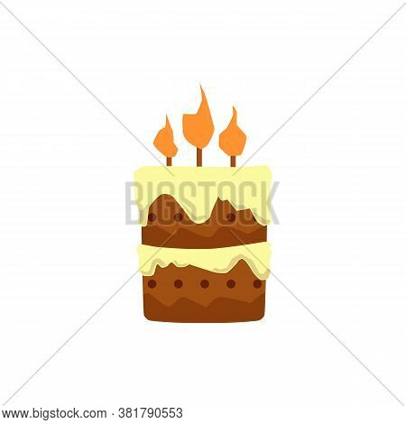 Cartoon Birthday Cake With Lit Candles Isolated On White Background