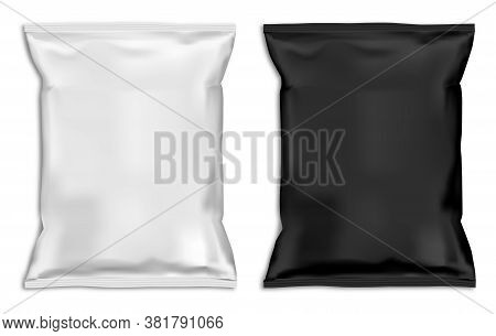Snack Bag Mock Up. White Pillow Pouch Coffee Blank. Plastic Food Sachet Template Design For Candy. A