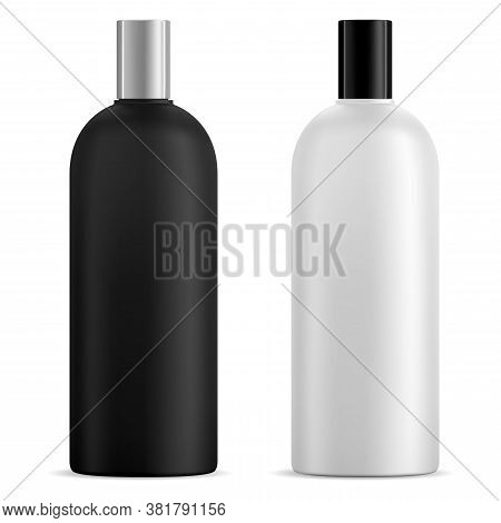 Black And White Shampoo Bottle Mockup, Vector Blank. Cosmetic Product Container Design For Liquid Ge