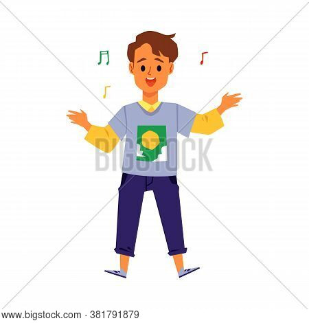 Cute Boy Or Teenager Character Singing Song, Flat Vector Illustration Isolated.