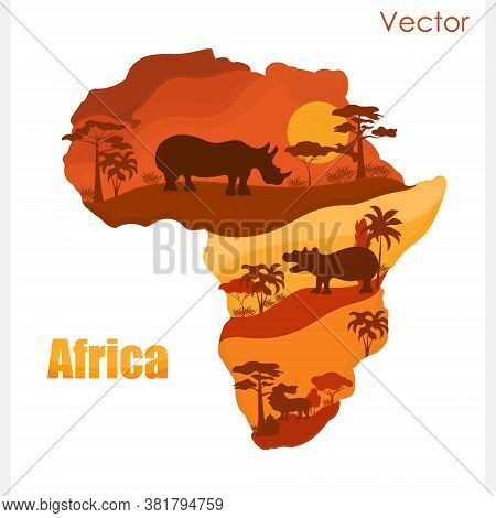 Vector Map Of Africa With Animals. Sunset.vector Map Of Africa With Animals. Sunset.