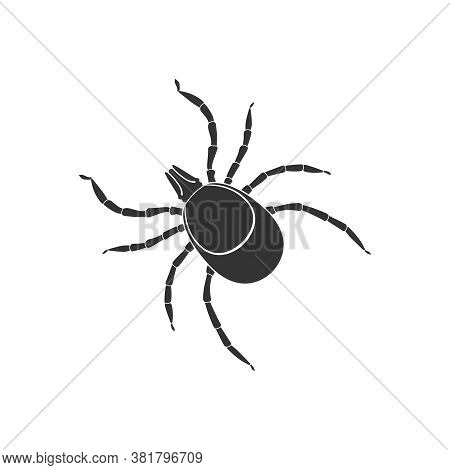 Mite Graphic Icon. Mite Black Sign Close Up Isolated On White Background. Vector Illustration