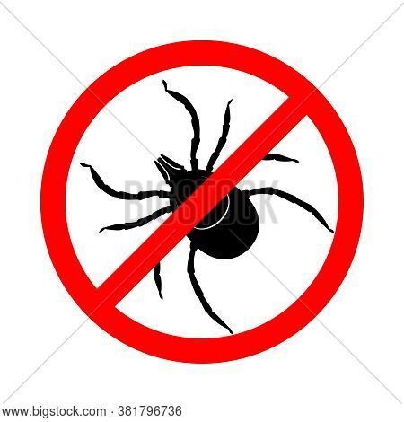 Mite In The Prohibition Sign. Warning Sign Stop Mite Insect Pest. Symbol For Informational And Insti