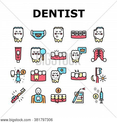Children Dentist Dental Care Icons Set Vector. Dentist And Orthodontics Equipment, Research And Cari