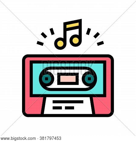 Audio Guide Cassette Color Icon Vector. Audio Guide Cassette Sign. Isolated Symbol Illustration