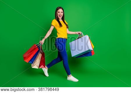 Full Length Body Size View Portrait Of Nice Attractive Pretty Glad Cheerful Girl Going Visiting Barg