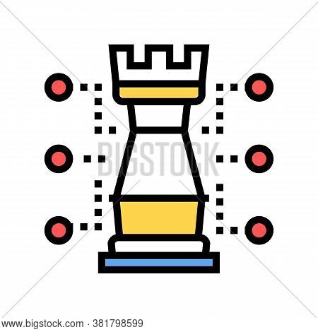 Chess Tour Characteristic Color Icon Vector. Chess Tour Characteristic Sign. Isolated Symbol Illustr