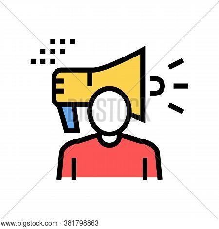 Human Loudspeaker Color Icon Vector. Human Loudspeaker Sign. Isolated Symbol Illustration