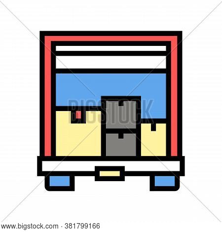 Boxes Upload In Truck Color Icon Vector. Boxes Upload In Truck Sign. Isolated Symbol Illustration