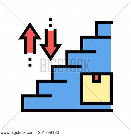 Carrying Box Up And Down Steps Color Icon Vector. Carrying Box Up And Down Steps Sign. Isolated Symb
