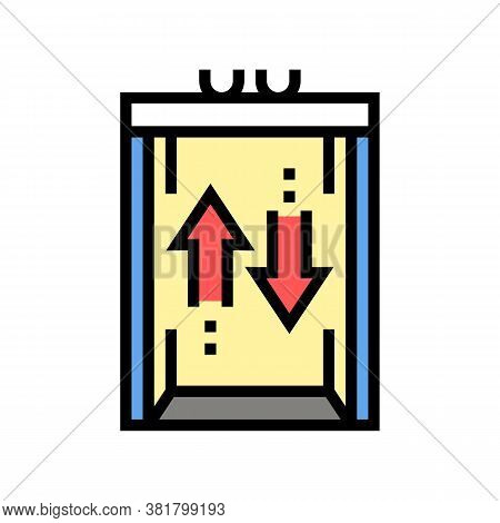 Lift Up And Down Color Icon Vector. Lift Up And Down Sign. Isolated Symbol Illustration