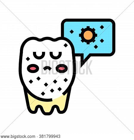Unhealthy Tooth Color Icon Vector. Unhealthy Tooth Sign. Isolated Symbol Illustration