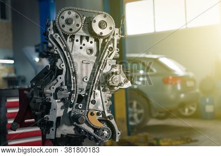 Overhaul Of The Motor. Partially Disassembled Engine In Car Service