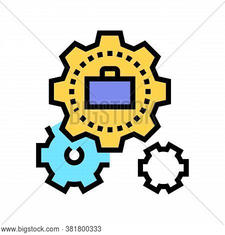 Mechanical Gears Color Icon Vector. Mechanical Gears Sign. Isolated Symbol Illustration