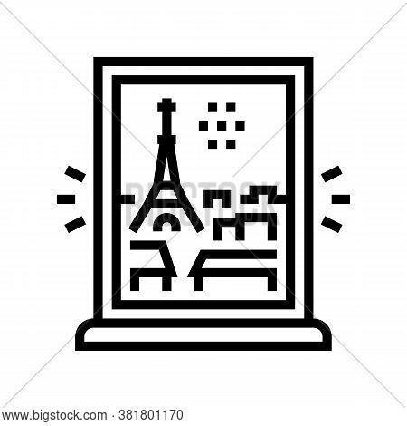 View From Window On Paris Line Icon Vector. View From Window On Paris Sign. Isolated Contour Symbol