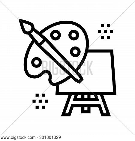 Art Palette Brush And Canvas On Tripod Line Icon Vector. Art Palette Brush And Canvas On Tripod Sign