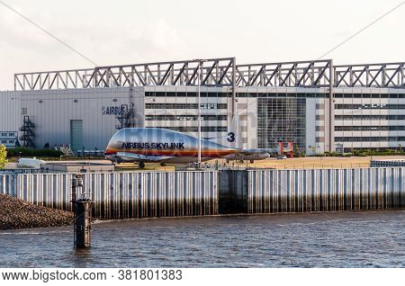 Hamburg, Germany - May 14, 2011: The Airbus Skylink Transport Plane In Front Of The Airbus Plant In