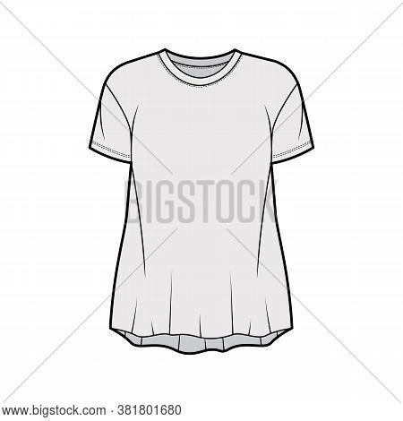 Boyfriend Slub Cotton-jersey T-shirt Technical Fashion Illustration With Crew Neck, Short Sleeves, R