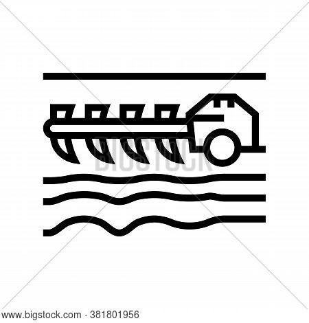 Agricultural Techincs Cultivator Line Icon Vector. Agricultural Techincs Cultivator Sign. Isolated C