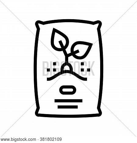 Seeds Bag Line Icon Vector. Seeds Bag Sign. Isolated Contour Symbol Black Illustration