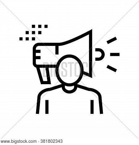 Human Loudspeaker Line Icon Vector. Human Loudspeaker Sign. Isolated Contour Symbol Black Illustrati