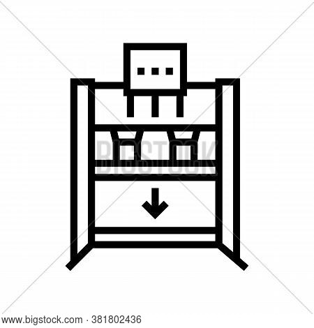 Plywood Cold Press Equipment Line Icon Vector. Plywood Cold Press Equipment Sign. Isolated Contour S