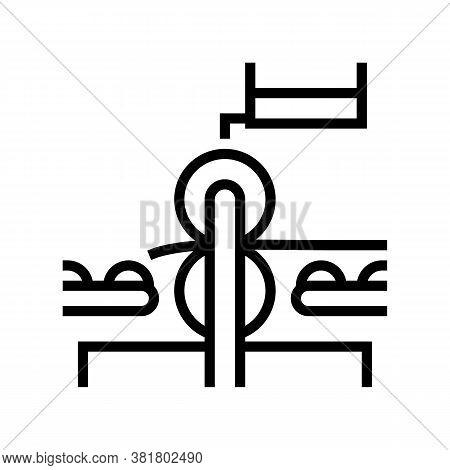 Pressing Wheels Conveyor Line Icon Vector. Pressing Wheels Conveyor Sign. Isolated Contour Symbol Bl
