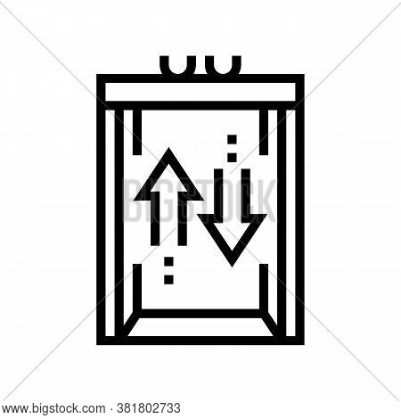 Lift Up And Down Line Icon Vector. Lift Up And Down Sign. Isolated Contour Symbol Black Illustration