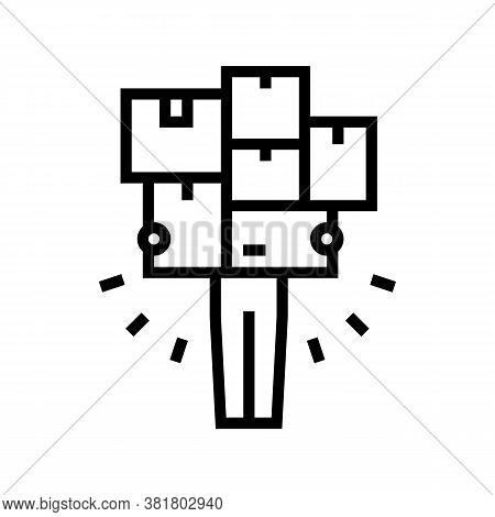 Human With Boxes Pile Line Icon Vector. Human With Boxes Pile Sign. Isolated Contour Symbol Black Il