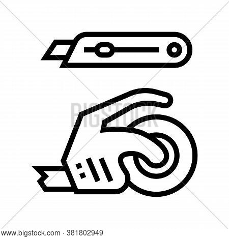 Scotch Tape And Knife Line Icon Vector. Scotch Tape And Knife Sign. Isolated Contour Symbol Black Il