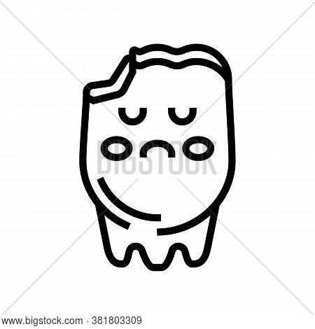 Tooth Caries Line Icon Vector. Tooth Caries Sign. Isolated Contour Symbol Black Illustration
