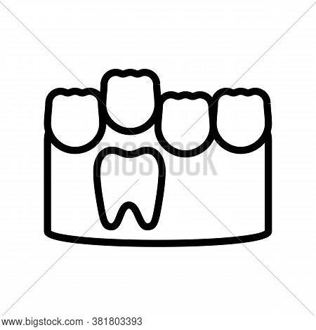 Baby And Molar Teeth Line Icon Vector. Baby And Molar Teeth Sign. Isolated Contour Symbol Black Illu