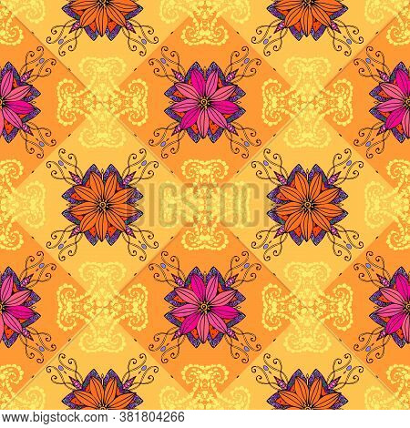 Seamless Regular Pattern With Floral Ornament. Colorful Print For Fabric With Summer Motives.
