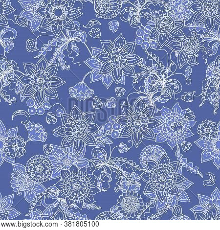 Floral Seamless Pattern With Winter Motifs. Beautiful Linear White Flowers On Blue Background. Frost