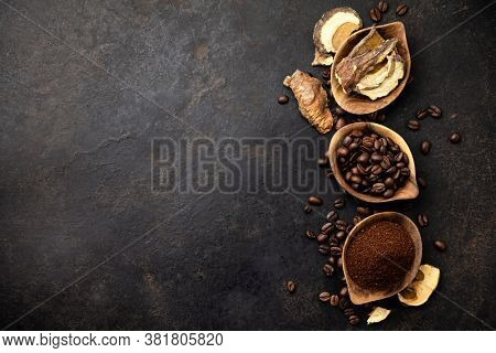 Mushroom Chaga Coffee Superfood Trend-dry and fresh mushrooms and coffee beans on dark background. Copy space, top view. Concept of trend modern food industry.