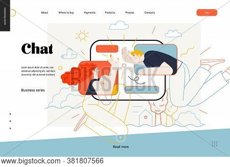 Business Topics - Chat, Web Template. Flat Style Modern Outlined Vector Concept Illustration. Tablet