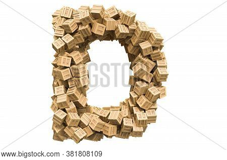 Letter D From Wooden Boxes. 3d Rendering Isolated On White Background