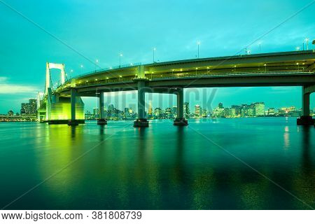 Rainbow Bridge And City Skyline From Odaiba, Tokyo, Kanto Region, Honshu, Japan