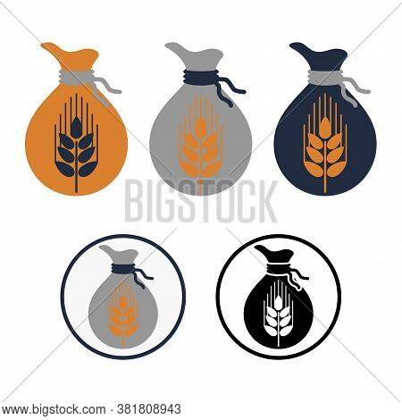 Multicolored Simple Flat Vector Icons With Bag Of Wheat. Symbol Of Knotted Sack With Spikelet. Conce