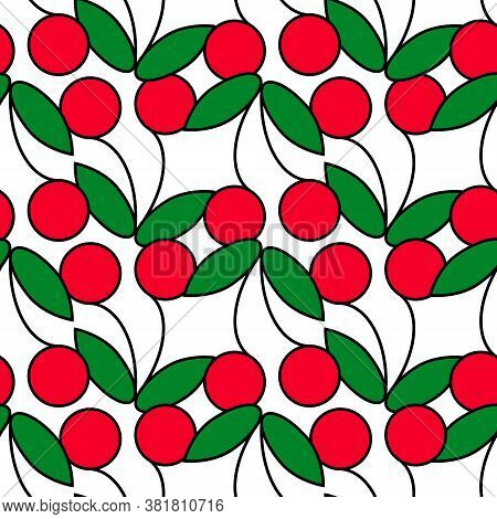 Isolated Cherries White Background Cherry Seamless Pattern Vector Illustration Seamless Background F