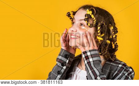 Happy Child With Eye Patches. Little Girl Curlers Around Her Hair. Create Beautiful Hairstyle. Gorge