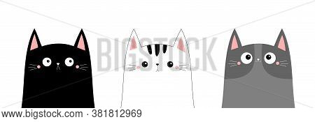 White Black Cray Cat Head Face Line Contour Silhouette Icon Set. Funny Kawaii Smiling Sad Doodle Kit