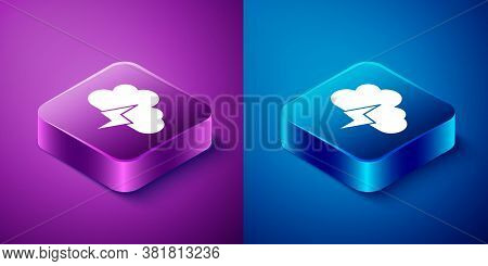 Isometric Storm Icon Isolated On Blue And Purple Background. Cloud And Lightning Sign. Weather Icon