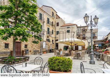 Castellabate, Cilento Coast, Italy, June 2020: Famous Place, The Small Main Square Of Castellabate,