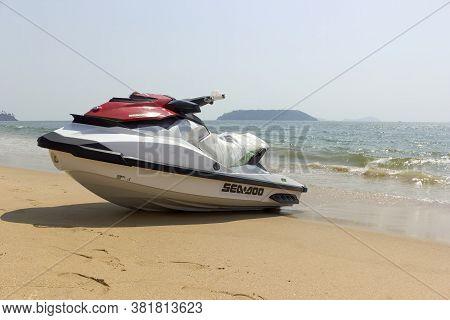Goa, India - February 28, 2013: A Jetski Kept For Tourist In Baga Beach Seashore