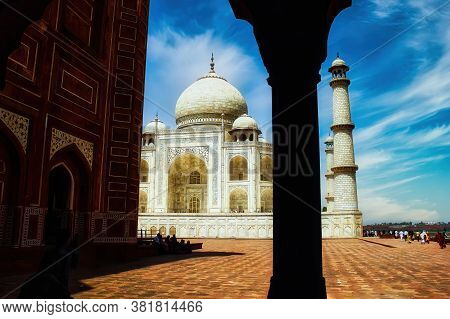 Agra, India - May 12, 2012: A Unique Perspective Wide Angle Shot Of Taj Mahal Symbol Of Love Monumen